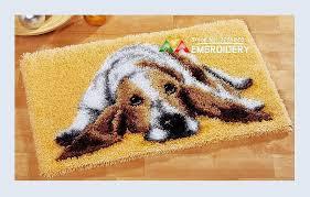 hot latch hook rug kits diy needlework unfinished crocheting rug yarn cushion mat dog embroidery carpet