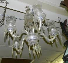 3 of 12 vintage etched crystal chandelier 5 arm hurricane glass shades fl prisms
