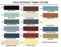 1954 Chevrolet Body Colors 1954 Classic Chevrolet