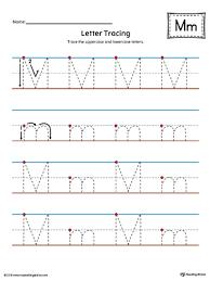 Letter M Tracing Printable Worksheet Color