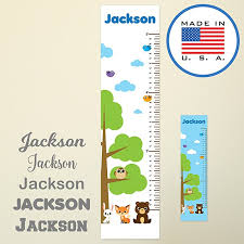 Wallclipz Personalized Forest Animals Growth Chart Fabric