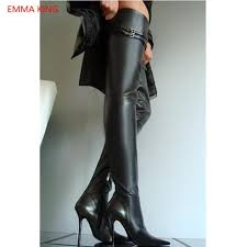 black leather women thigh high boots pointed toe 10cm stis high heels y women over the knee long boots 2018 winter shoes mens chelsea boots black