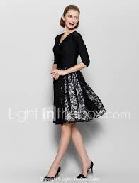 Light In The Box Mother Of The Bride Dresses A Line V Neck Knee Length Lace Jersey Mother Of The Bride
