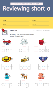 Six levels of reception and year 1 phonics rhyming activities worksheets to practise hearing rhyming sounds in one and two syllable words. Reviewing Short A Phonics Worksheets Grade 1 Worksheets Free