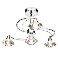 Dar Lighting Luther Luther 4 Light Semi Flush Complete With Crystal Glass