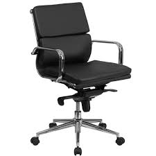 office leather chair. Flash Furniture Mid-Back Black Leather Executive Swivel Office Chair With Synchro-Tilt Mechanism