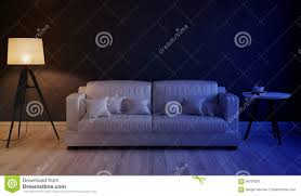 Night Scene Of The Interior Living Room Stock Illustration
