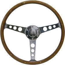 saas classic 15 inch wood steering wheel polished aluminium hole spoke with rim rivets sw704phw