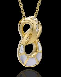 infinity urn necklace. 14k gold plated infinity urn - swarkoski stones and mother of pearl necklace