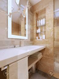 Luxus Badezimmer Interieur Waschbeckenkonsole Mit Weißer