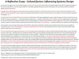 system design eex civilizations and cultures reflective essay a reflective essay cultural factors influencing systems design in my systems design course i learned