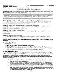 dystopian short stories teaching resources teachers pay teachers fahrenheit 451 literary analysis essay assignment fahrenheit 451 literary analysis essay assignment