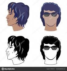 男性のヘアスタイルは巻き毛を設定します ストックベクター