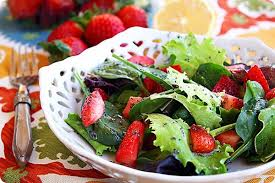 mixed green salad with strawberries. Simple Strawberries Inside Mixed Green Salad With Strawberries T