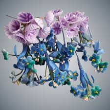 Paper Flower Hats Miniature Vintage Paper Flowers Doll Hats Millinery Purple And Blue
