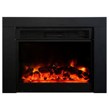 recessed electric fireplace in black