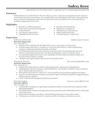 Resume For Security Job Best Supervisor Example Guard Job Resume For ...