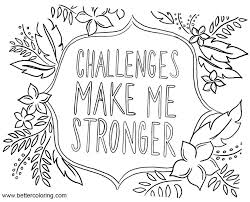 Growth Mindset Coloring Pages Challenges Make Me Stronger Free