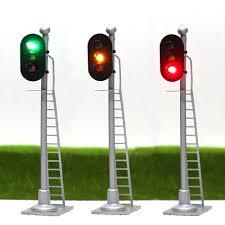 Traffic Light 3 Us 14 71 8 Off Jtd873 3pcs Model Traffic Light Singal Model Railroad Train Signals 3 Light 2 Light Block Signal 1 87 Ho Scale Railway Modeling In