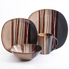 brown dinnerware sets. Simple Brown Better Homes And Gardens Bazaar Brown 16Piece Dinnerware Set Ceramic   Stone For Sets A