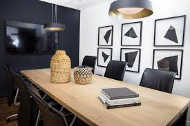 diy office space. Modern Office Space. Warm Wood Custom Table, DIY Art And A Black Brick Wall. - Karin Bennett Designs Diy Space