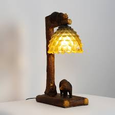 Rustic Fun Resin Trunk & Bears 1-Light Table Lamps with Squama Bowl-Shaped