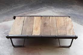 vintage industrial wood and steel skid platform low coffee table burned in stamp u0027barrett table s47