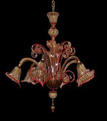 1950s venetian six light chandelier in rare bronze and red trimmed glass