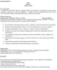 Marketing Officer Cv Example Icover Org Uk