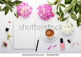 flat workspace home office. flat lay fashion feminine home office workspace top view