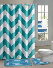 teal striped shower curtain. shower curtain matching covered fabric hooks bathroom set 13pc chevron teal striped shower curtain