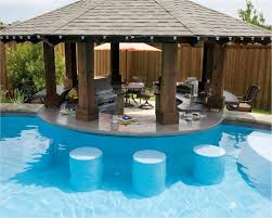 pool bar furniture. pool have other side of round bar be dry stools at same height but clearer pool furniture l