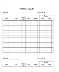 accounting ledger template general ledger sheet template double entry bookkeeping college