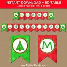 Christmas Tree Banner Printable Christmas Banner Editable