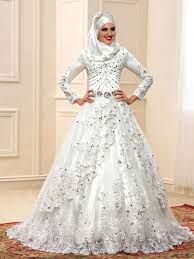 luxurious beading crystal long sleeve arabic muslim wedding dress