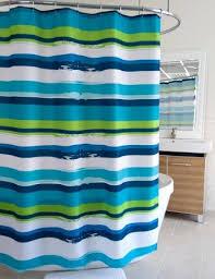 teal striped shower curtain. splash home blue green oblique stripe shower curtain: bedbathhome.com teal striped curtain e