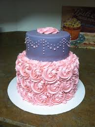 pink+and+grey+damask+shower+cake | Pink and grey baby shower cake ...
