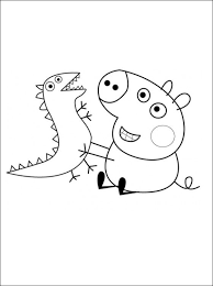 George Pig And His Toy Dinosaur Coloring Pages Baby Brian Room