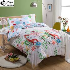 bedding set 3pcs cotton duvet cover pillowcase bedsheet giraffe pattern cartoon kids twin size bed sheet