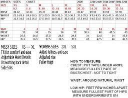 Misses Size Chart Misses Size Chart