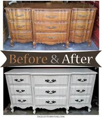 Painted Bedroom Furniture Before And After Antiqued White French Provincial Dresser Before After