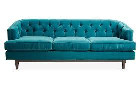 emma tufted sofa peacock velvet
