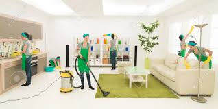 clean living room. Same Woman Cleaning Living Room, Digital Composite Image Stock Clean Room