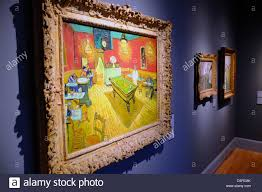 vincent van gogh night cafe with pool table painting in the yale art gallery stock