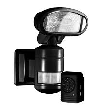 Motion Light With Alarm Nightwatcher Security 220 Degree Outdoor Black Motorized Motion Tracking Halogen Security Light With Wireless Indoor Audio Alarm