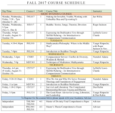 Fall 2017 Course Schedule Maitripa College