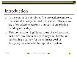Fire Sprinkler Designer Training Fire Protection Survey Procedure Ppt Download