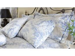 toile de jouy china blue filled square cushion