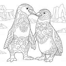 Kleurplaat Van Keizer Pinguïns Paar Stockvectorkunst En Meer Beelden