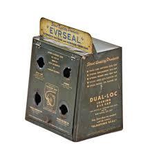 Original Late 1940s Vintage American Industrial Automobile Service Station Radiator Filler Cap Enameled Steel Display Cabinet With Hinged Door
